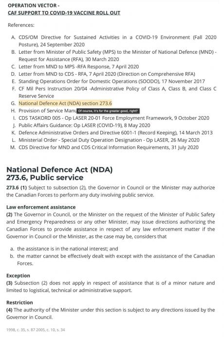 National Defence Act, 273.6 — Law Enforcement Assistance